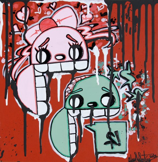 Graffiti Style Character Stay Hungry For Love & Money Canvas Print