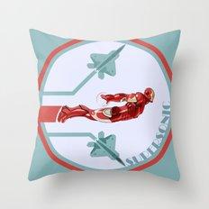 iron man and F22 raptor  Throw Pillow