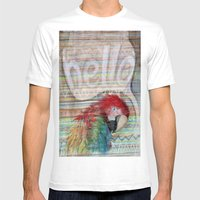 Hello Parrot Mens Fitted Tee White SMALL