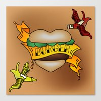 Burger Tattoo Canvas Print