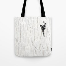 Woman Climbing A Wrinkle Tote Bag
