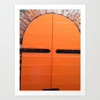 Historic St. Thomas USVI  orange Door way Art Print