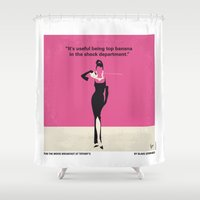 No204 My Breakfast at Tiffanys minimal movie poster Shower Curtain