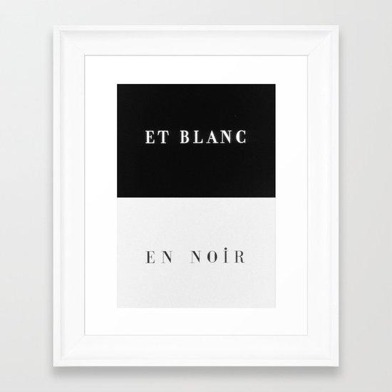 Et Blanc En Noir Framed Art Print