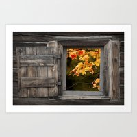 Colorful Fall Leaves viewed through a Barn Window Art Print