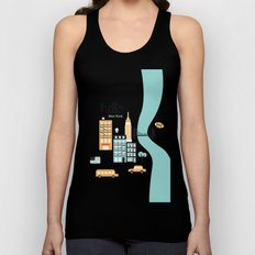 Hello New York - retro manhattan NYC icons illustration Unisex Tank Top