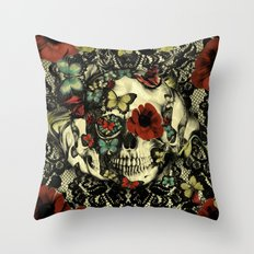 Vintage Gothic Lace Skul… Throw Pillow