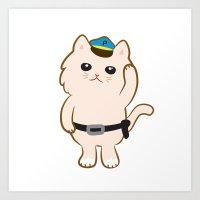 Animal Police - Cream cat Art Print