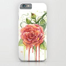 Red Rose Dripping Watercolor Flower Slim Case iPhone 6s