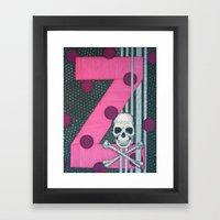 Pink Skull. Letter Z Framed Art Print