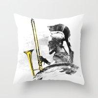 Trombone Warrior Throw Pillow