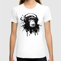 Monkey Business - Black Womens Fitted Tee White SMALL