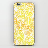 Yellow Lemon In Watercol… iPhone & iPod Skin