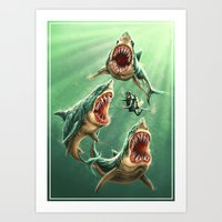Great White Sharks #1 Art Print