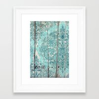 Teal & Aqua Botanical Do… Framed Art Print