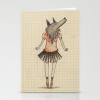 Woman Wolf at school Stationery Cards