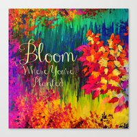 BLOOM WHERE YOU'RE PLANTED Floral Garden Typography Colorful Rainbow Abstract Flowers Inspiration Canvas Print
