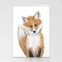Fox On Snow Stationery Cards