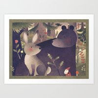 Rabbit, Bear And Gnome Art Print