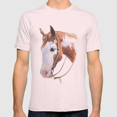 Western Horse Mens Fitted Tee Light Pink SMALL