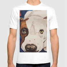 Pit Bull Portrait Mens Fitted Tee White SMALL