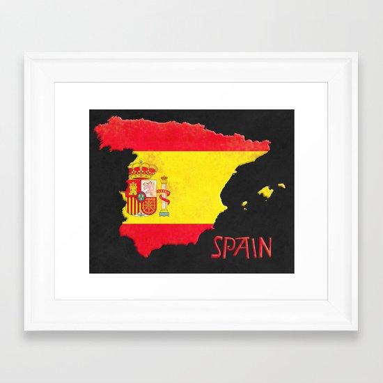 Spain Vintage Map Framed Art Print
