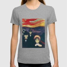 Anxiety By Edvard Munch Womens Fitted Tee Tri-Grey SMALL