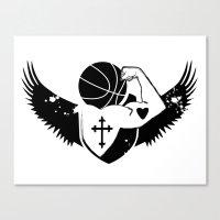 Faith Strength Heart Basketball Canvas Print