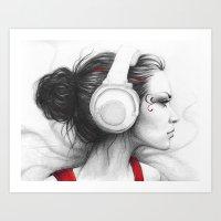I Love Music   Girl in Headphones Art Print