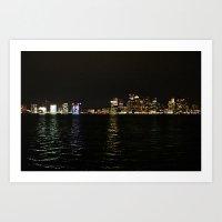 Boston Night Skyline  Art Print