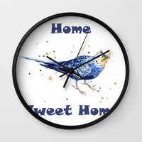Funny Animals, budgie, bird paintings, bird art, new home decor, bird watercolor Wall Clock