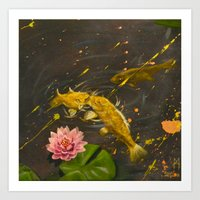 Kissing Koi Art Print