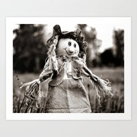 Smiling scarecrow Art Print