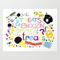 Treats And Snoozin'. Sno… Art Print