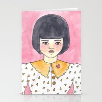 Pink Brooch Stationery Cards