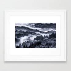 Misty Forest Mountains Framed Art Print