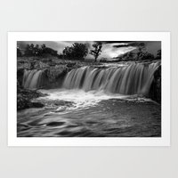 Waterfalls in Black and White at Falls Park by Sioux Falls in South Dakota Art Print