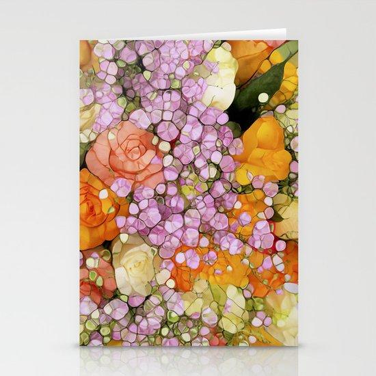 Mosaic Vintage-  Floral Spring Sparkles Stationery Card