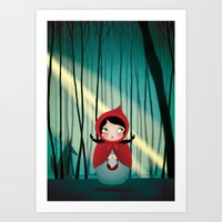 Riding Hood - Kokeshi Art Print