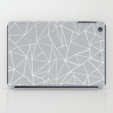 Abstract Lines 2 White on Grey iPad Case