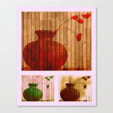 Vase Collage (warm, aged look) Canvas Print
