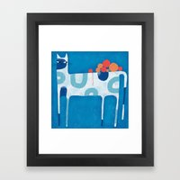 SKINNY CAT WITH YARN BAL… Framed Art Print