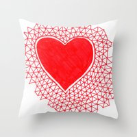 red geometric heart Throw Pillow