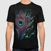 Peacock Feather Mens Fitted Tee Tri-Black SMALL