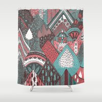 Red Mountains Shower Curtain