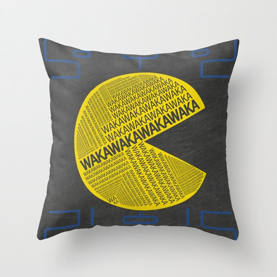 Pac-Man Typography Throw Pillow