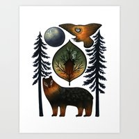 The Bear and the Barn Owl Art Print