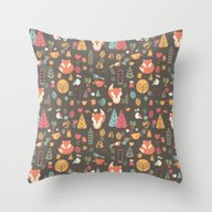 Baby Fox Pattern 04 Throw Pillow