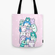 Pastel Pile Of Cats Tote Bag