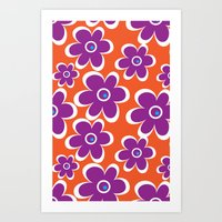 retro purple flower Art Print